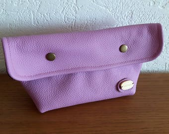 Marshmallow pink genuine leather makeup case