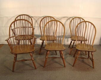 Set Of 6 Solid Cherry And Oak Bow Back Windsor Dining Chairs