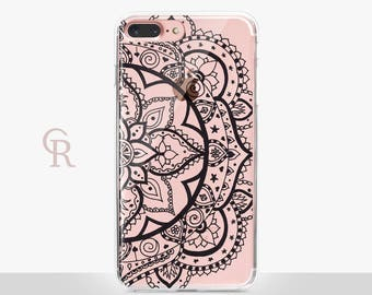 Mandala iPhone X Clear Case - Clear Case - For iPhone 8 - iPhone X - iPhone 7 Plus - iPhone 6 - iPhone 6S - iPhone SE Transparent - Samsung