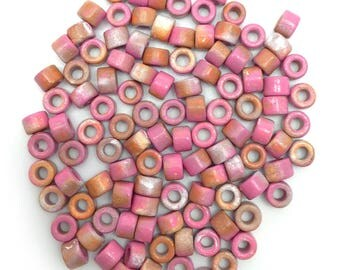 Ceramic cylinder, pink Brown spotted, 6mm, 100 PCs