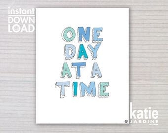 boys art print - one day at a time -  kids wall art - boys art - 8x10 print - instant art - printable art - freehand text - boys print