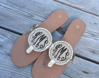 Monogram Sandals, Monogrammed embroidered sandals, monogrammed disk sandals, champagne, navy, baseball,  white, black, softball, rose
