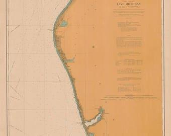 Lake Michigan Map - Muskegon to Ludington -1906