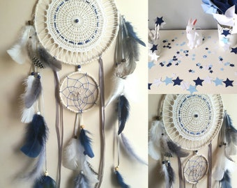 Double dream catcher Navy, ecru and grey with doily