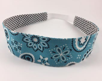 Light Blue Paisley Handmade Fabric Headband, Adult Headband Woman, Womens Headband, Reversible Fabric Headband For Women,