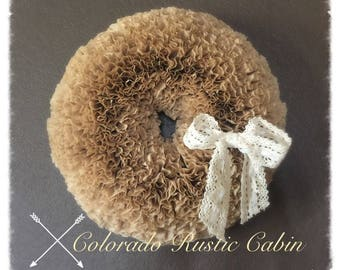 Natural Coffee Filter Wreath with Lace Bow