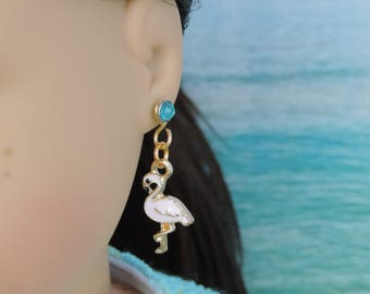 Gold and Pink Flamingo Earrings for American Girl Dolls and other 18 inch dolls