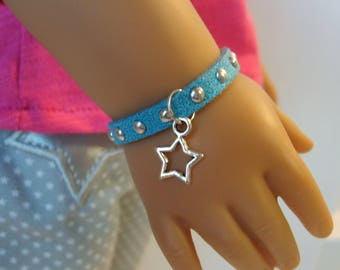 Sparkly Suede and Silver Bracelet for American Girl Doll Luciana Vega GOTY 2018 and other 18 inch dolls