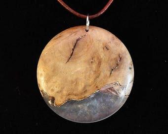 Buckeye burl and acrylic pendant