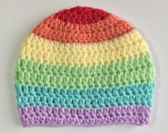 Rainbow Baby Hat, Ready to Ship, Crochet Hat Baby, Baby Girl Hat, Crochet Rainbow Baby, Rainbow Baby, Girl Hat, Rainbow