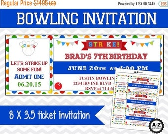 60% OFF Bowling Birthday Invitation, Personalized Invitation, Printable DIY, Bowling Party, Chevron and Polka Dots, Red and Blue, Bowling In