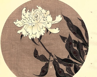 "Japanese antique woodblock print, Ito Jakuchu, ""Paeonia lactiflora, from Jakuchu gafu"""