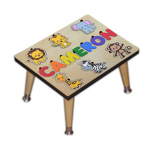 Child S Personalized Step Stool Puzzle With Jungle Friends