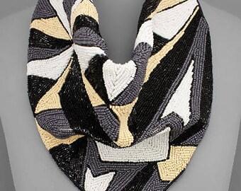 Geometric Pattern Beaded Scarf Necklace