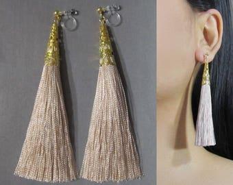 Sand Beige Tassel Clip-On Earrings |35F| Long Dangle Clip Earring, Gold Filigree Clip-ons, Boho Wedding Bridal Non Pierced Clip Earrings