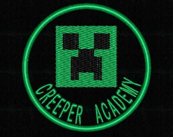"""Minecraft Creeper Face Academy  patch (2.75"""" Iron On) - FREE SHIPPING"""