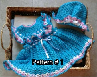 Crochet Baby Dress Pattern Baby hat pattern Baby clothes pattern Crochet pattern for baby girls Crochet baby pattern for girl babies.