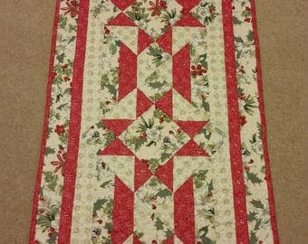 Quilted - Patchwork Table Runner or Topper - Christmas Cotton Fabric
