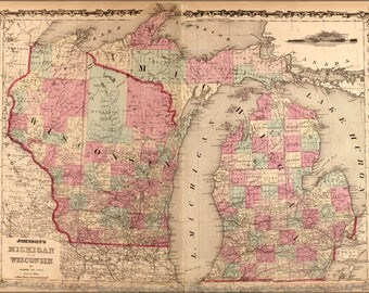 Poster, Many Sizes Available; Map Of Michigan And Wisconsin 1862