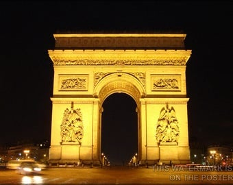Poster, Many Sizes Available; Arc De Triomphe, Paris, France At Night