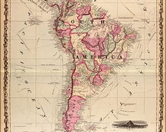 40% OFF SALE Poster, Many Sizes Available; Map Of South America 1862
