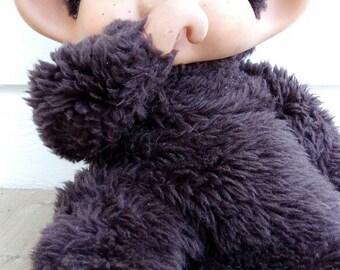 Big XL monchhichi monkey stuffed animal toy 1974 1980s 80s made in Japan Swedish text
