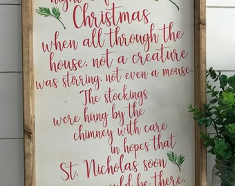 Night Before Christmas Sign - Christmas Sign - Twas The Night Before Christmas Sign - Wood Christmas Sign - Farmhouse Christmas Sign