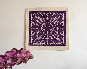Papel picado on amate paper, mexican art wall decoration.