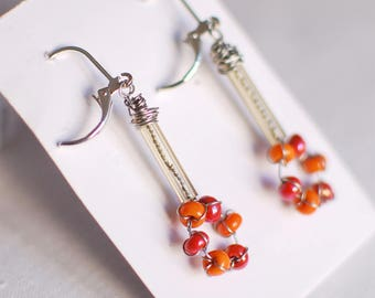 Orange and wire - earrings