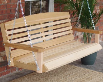 Brand New 4 Foot Cedar Wood American Style Porch Swing with Hanging Chain - Free Shipping