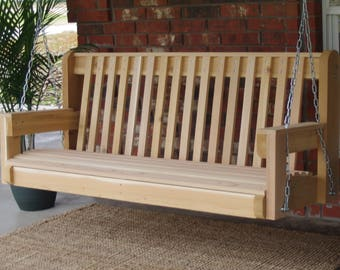Brand New 4 Foot Cedar Wood High Back Porch Swing with Hanging Chain or Rope - Free Shipping