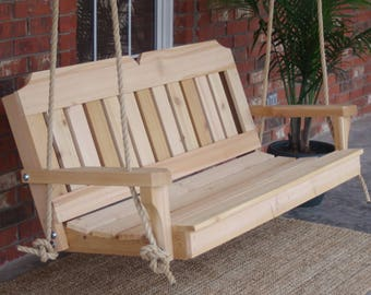 Brand New 6 Foot Cedar Wood Victorian Porch Swing with Hanging Rope - Free Shipping