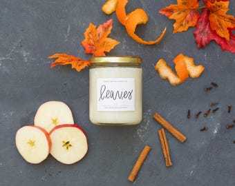 Leaves 16oz Candle Soy Candles Handmade Scented Candles Farmhouse Decor Rustic Home Decor Essential Oil Home Decor Housewarming Gift Candles
