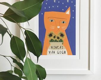 Vincat van Gogh Cat Print
