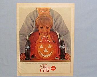 Coke Coca-Cola Ad Page, 1964 McCall's Magazine, Halloween Pumpkin