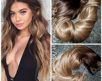 Balayage extensions etsy balayage remy clip in extensions 100 grams 18 inches sale pmusecretfo Image collections