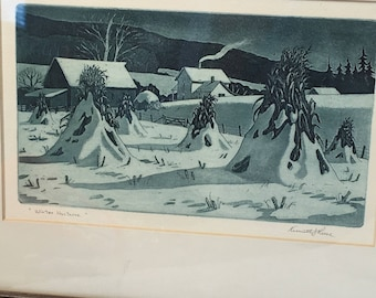 Kenneth J Reese Aquatint etching-WINTER NOCTURNE