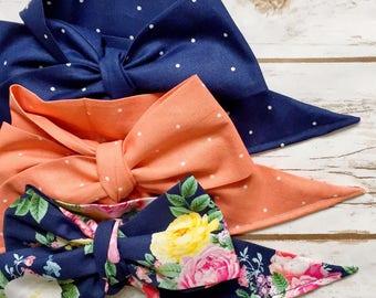 Gorgeous Wrap Trio (3 Gorgeous Wraps)- Navy Sky, Peach Sugar & French Navy Floral Gorgeous Wraps; headwraps; fabric head wraps; bows