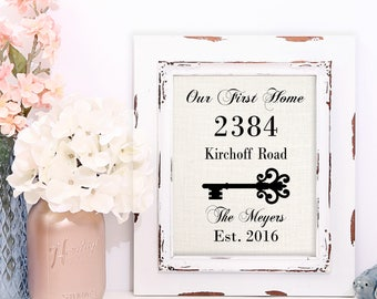 New Home Housewarming Gift, New Home Sign, First Home Gift, Custom Burlap Print, 8x10, 11x14, 12x18 or Custom Size