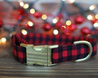 Buffalo Plaid Collar | Christmas Dog Collar | Lumberjack Dog Collar |  Dog Collar | Large Dog Collar, Small Dog Collar | Pet Lover | Winter