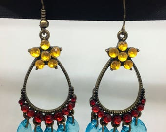 Vintage Beads Boho Dangling Earrings, Plastic Beads Earrings, Vintage Vibe Earrings, Boho Vibe Earrings, Valentine' Day Earrings