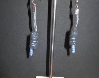 Grey felt and 20 beads earrings