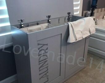 Laundry hamper, wood laundry hamper, laundry, gray, grey,(D-gr-F-sten-hamp)