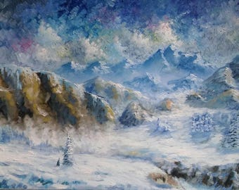 "Original Painting 50x100 cm Oil on canvas ""Mountain''"