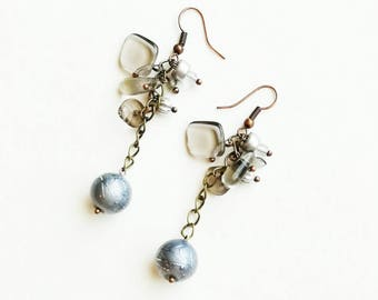 Grey Czech glass beads earrings boho medium long bronze handmade earrings deep earrings handmade Czech glass beads earrings gift for her