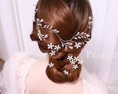 Bridal Headband - Little White Daisies + Vine Headband - Made To Order