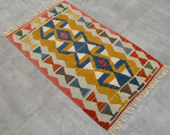 2'3'' x 3'8'' Anatolia Turkish Kilim Rug Hand Woven Wool Flat Weave Area Rug Small Kilim 69 cm x 113 cm Rug Rugs sku : BS3654