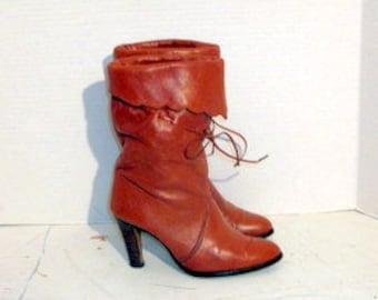 sz 6,5 m vintage burnt orange leather high heel boots