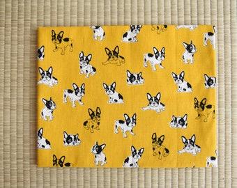 cotton yellow french bulldog fabric 1/2 yard