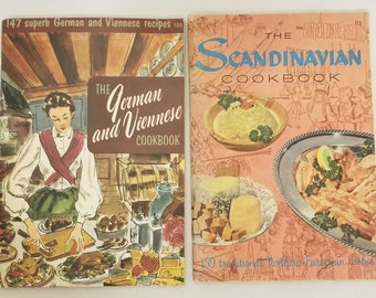 Lot of 2 culinary arts institute cookbooks scandinavian and german and viennese 1965